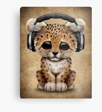 Cute Leopard Cub Dj Wearing Headphones  Metal Print