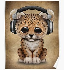 Cute Leopard Cub Dj Wearing Headphones  Poster