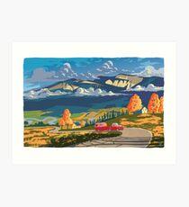 Vintage travel camper country landscape poster Art Print