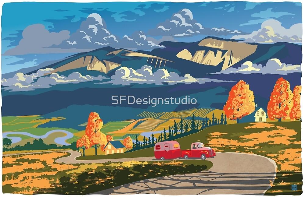 Vintage travel camper country landscape poster by SFDesignstudio