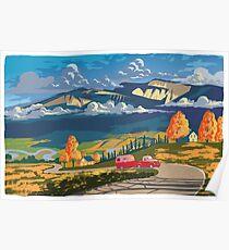 Vintage Reise Camper Land Landschaftsplakat Poster