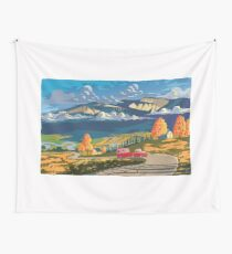 Vintage travel camper country landscape poster Wall Tapestry