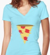 Glitchy Pizza Women's Fitted V-Neck T-Shirt