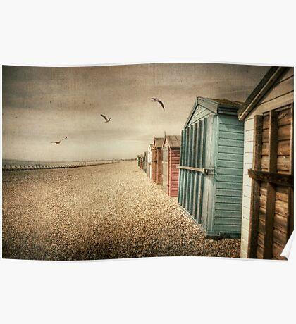 Hayling Island Beach Huts Poster