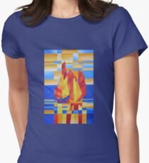 Sailing on the Seven Seas so Blue Cubist Abstract Women's Fitted T-Shirt