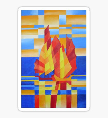 Sailing on the Seven Seas so Blue Cubist Abstract Sticker