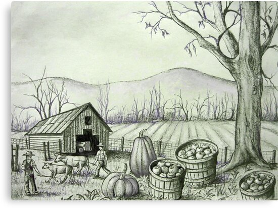 Fall Harvest Time Down on the Farm by Vivian Eagleson