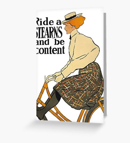 Ride A Stearns Bicycle and Be Content Greeting Card