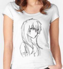 Anime Girl Sketch Women's Fitted Scoop T-Shirt