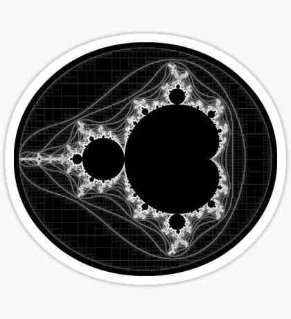 White - Linear Mandelbrot Sticker
