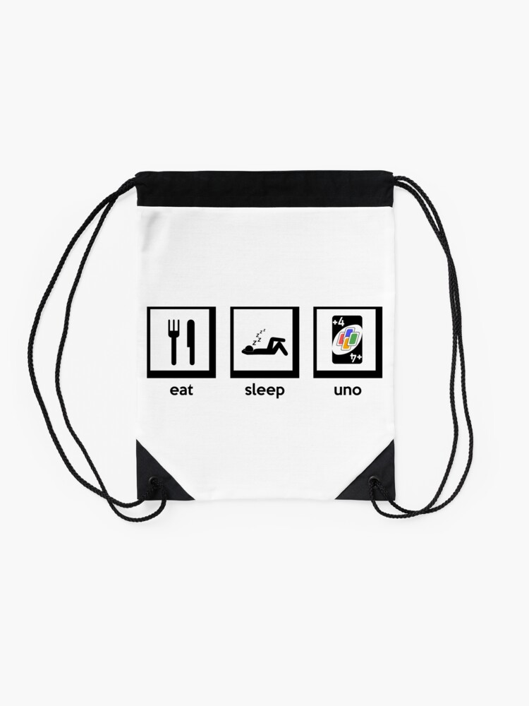 eat, sleep, uno (+4 uno card game) | Drawstring Bag