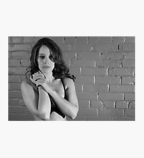 Female Model - Brick wall Photographic Print