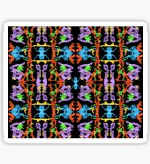 Insect like Abstract with Purple Blue Orange Yellow Green on Black  Sticker