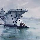 """""""Big Ship and a Little Tug"""" by Colleen Reynolds"""