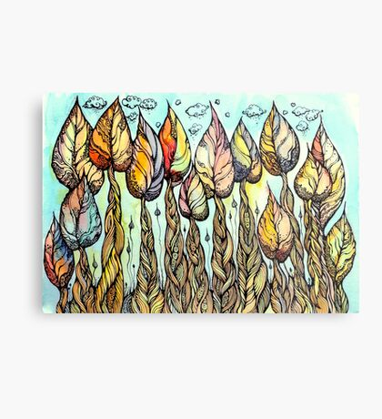 Autumn grove. Hand drawn watercolor and ink drawing Metal Print