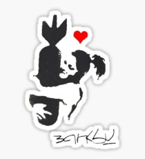 Banksy Hugger Red Sticker