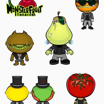 MonsterFruit Theater Small Sticker Sheet 1 by wickedstudios