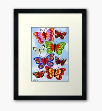 8 BUTTERFLY'S - BRUSH AND GOUACHE Framed Print