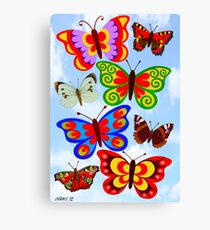 8 BUTTERFLY'S - BRUSH AND GOUACHE Canvas Print