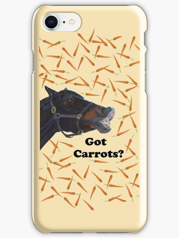 Cute Got Carrots Horse iPhone or iPod Cases by Patricia Barmatz