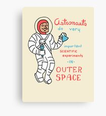 Scientific Astronauts - funny cartoon drawing with handwritten text Canvas Print