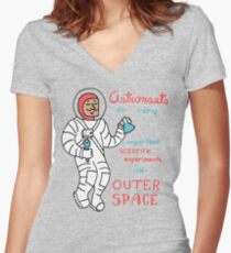 Scientific Astronauts - funny cartoon drawing with handwritten text Women's Fitted V-Neck T-Shirt