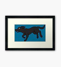 Lámina enmarcada Black Labrador Retriever corriendo