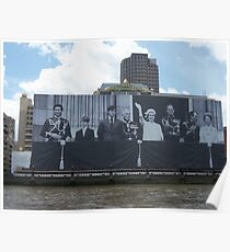 Queen's 60th Jubilee Banner On The Thames, London Poster