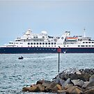 Cruise Ship Comes To Lyme, Dorset Uk by lynn carter