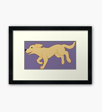 Lámina enmarcada Amarillo Labrador Retriever corriendo