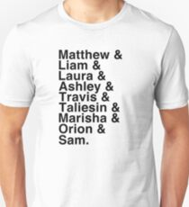 The Cast of Critical Role - Helvetica List T-Shirt