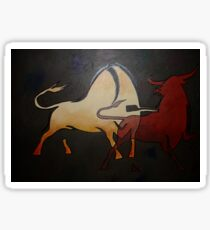 Two Bulls Fighting  Sticker
