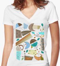 Mid-Century moderne abstrakte Erdtöne Tailliertes T-Shirt mit V-Ausschnitt
