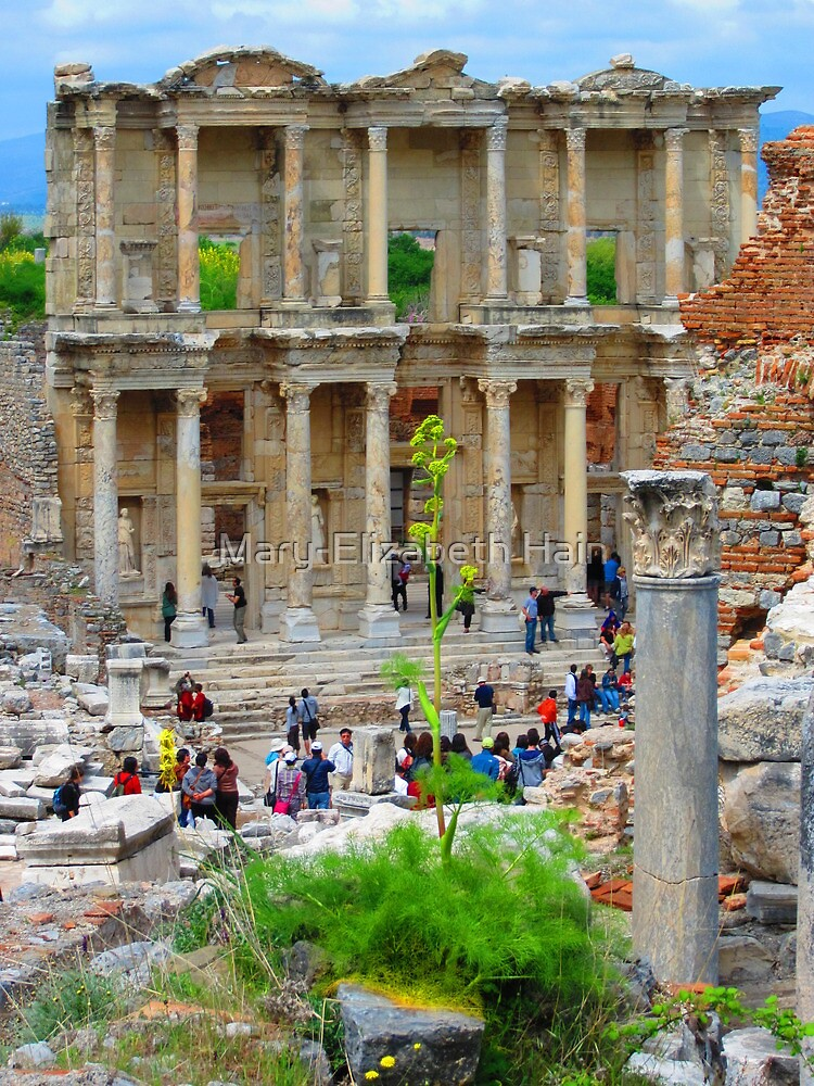 Tourists Flood The Library of Celsus - Ephesus by M-EK