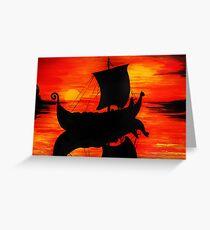 Viking Longboat Sunset Greeting Card
