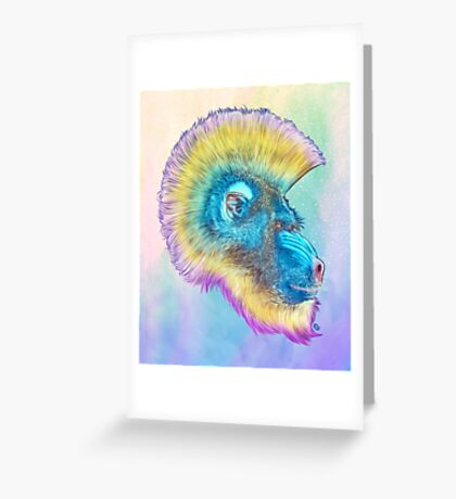Mohawk Mandrill IN SPACE! Greeting Card