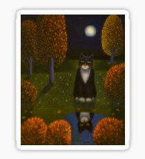 The cat and the moon Sticker