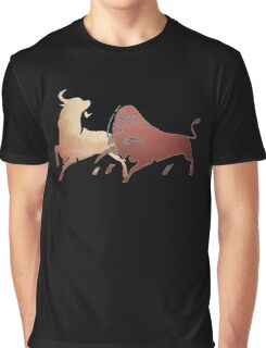 Bull Fight In Brown Graphic T-Shirt