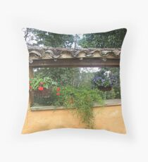 Flowers in the fence Throw Pillow