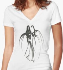 Dervish Whispers Minimalistic Painting Women's Fitted V-Neck T-Shirt