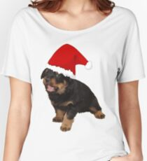 Cute Rottweiler Puppy In Santa Hat Women's Relaxed Fit T-Shirt