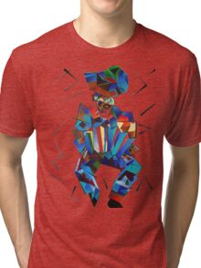 Cubist Portrait of Accordian Player Isolated on White Tri-blend T-Shirt