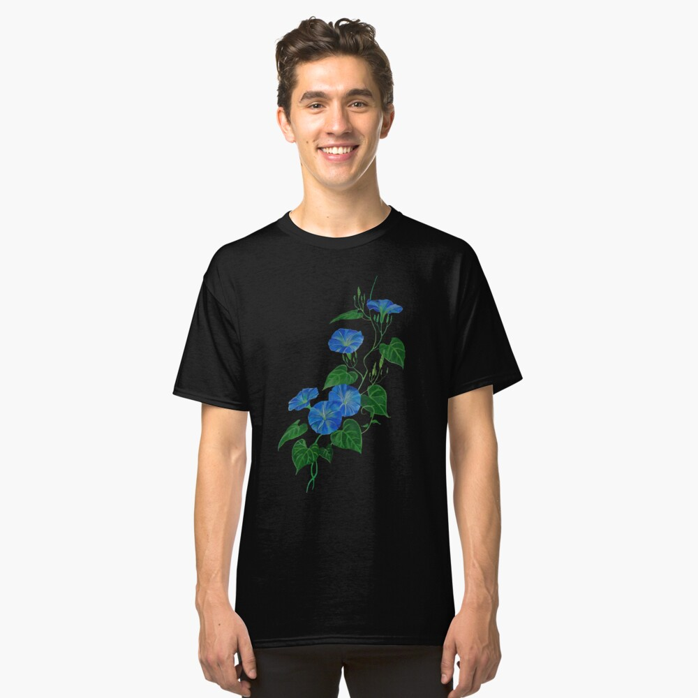 Victorian Style Blue Bindweed Wildflower  Classic T-Shirt Front