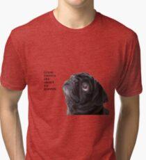Camiseta de tejido mixto Cosas buenas pug negro
