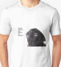 Camiseta unisex Cosas buenas pug negro