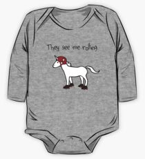 They See Me Rolling - Roller Derby Unicorn One Piece - Long Sleeve