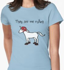They See Me Rolling - Roller Derby Unicorn Women's Fitted T-Shirt