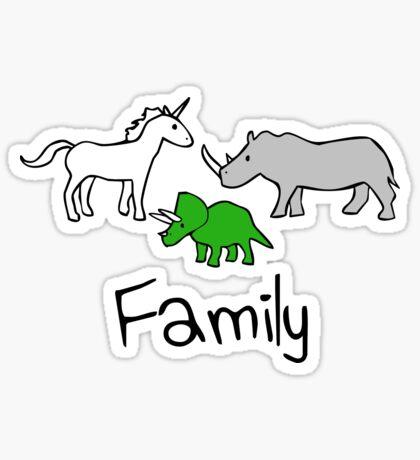 Family - Unicorn, Rhino, Triceratops Sticker