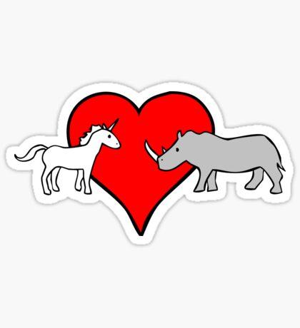 Unicorn Loves Rhino Sticker