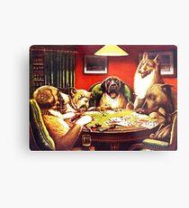 Dogs Playing Poker Vintage postcard Metal Print